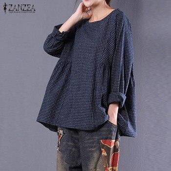ZANZEA חדש נשים עגול צוואר ארוך שרוול רופף חולצה כותנה פשתן Vingtage משובץ חולצה Blusas סתיו צמרות גדולות M-5XL 2019