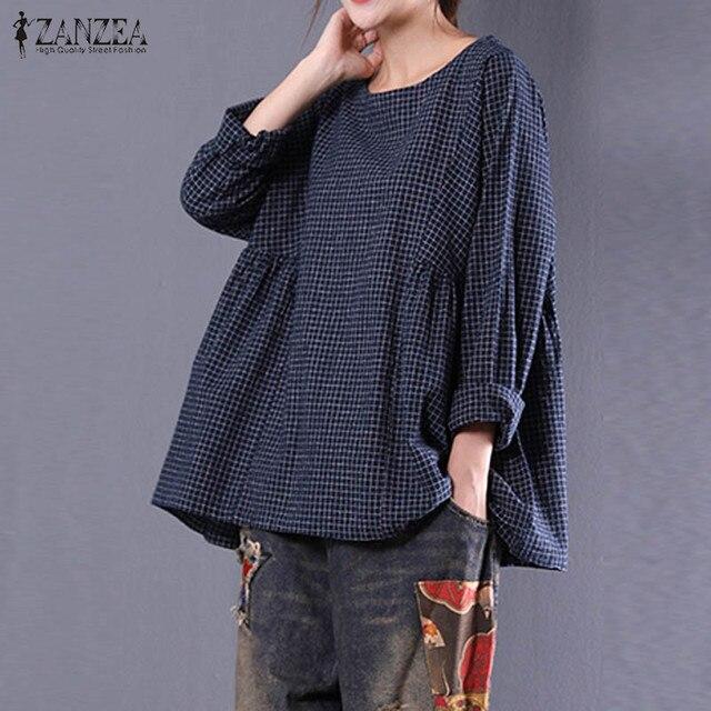 ZANZEA Nouvelles Femmes Col Rond Manches Longues Lâche Blouse Coton Lin Vingtage Plaid Chemise Blusas Automne Surdimensionné Tops M-5XL 2018
