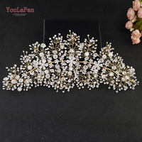 YouLaPan HP240 G Gold Bride hair accessories crystal wedding hair jewelry fascinator for wedding rhinestone wedding flower tiara