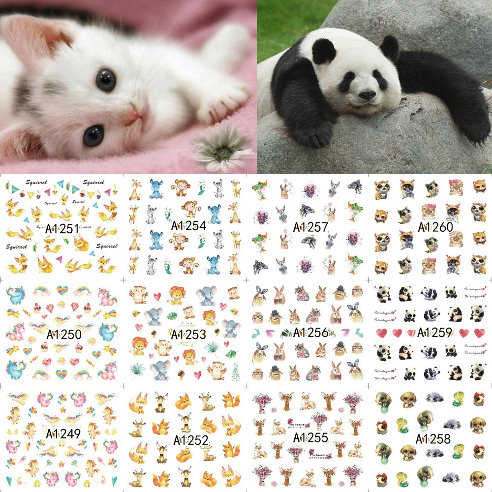 12 Sheets Nail Art Water Transfer Sticker Decals Cartoon Cute Animal Fox Panda Unicorn Stickers Wrap Tips Decoration A1249-1260 стоимость