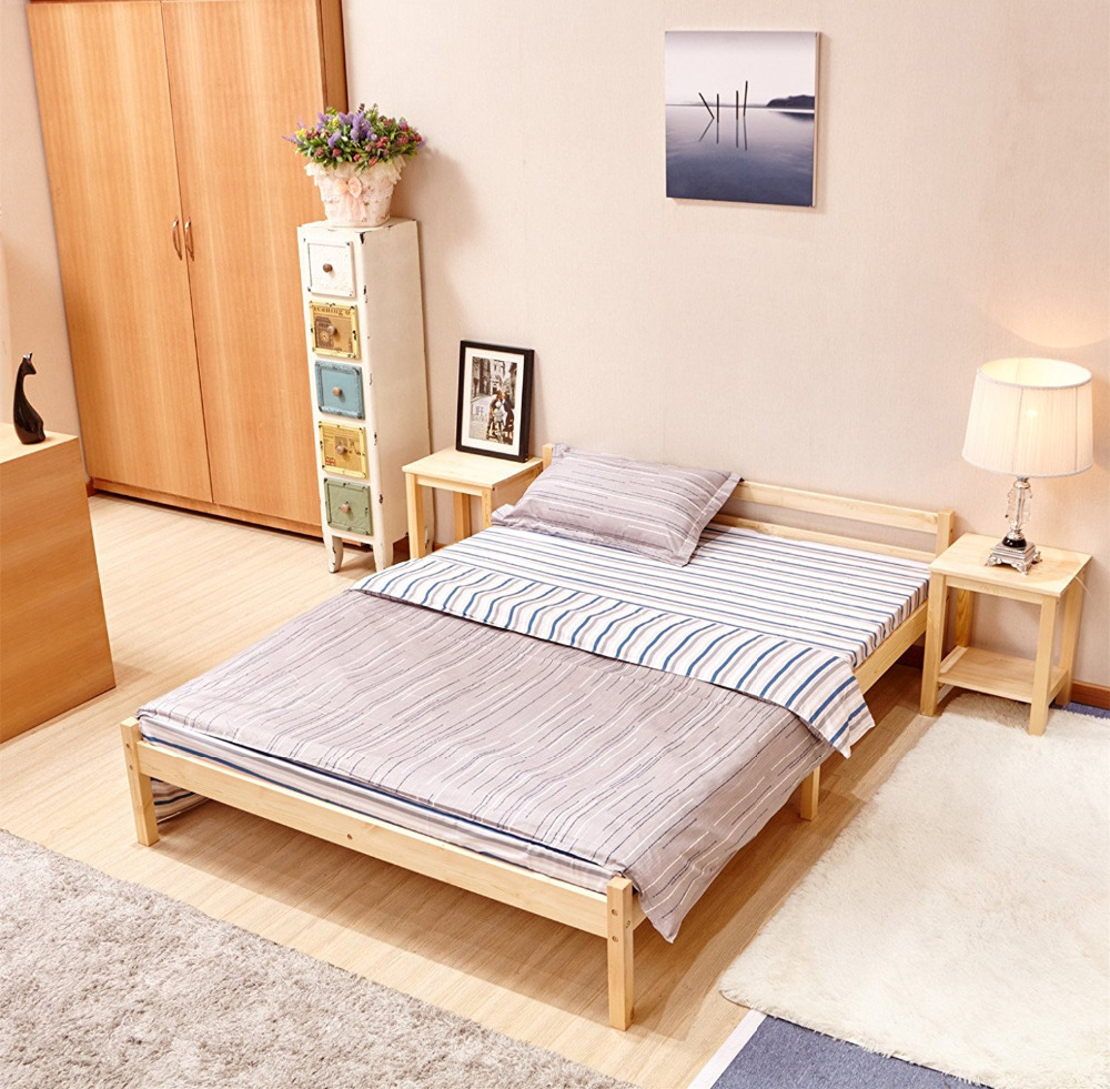 Aingoo wooden double bed 4 39 8ft bed frame solid bedstead for Frame house bed