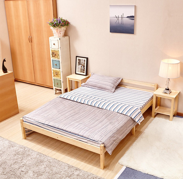 Aingoo Wooden Double Bed 4'8ft Bed Frame Solid Bedstead Base Queen