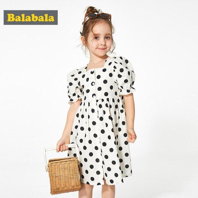 BalabalaChildren usar vestidos das meninas estilo Francês vestido de verão 2019 novas crianças do bebê meninas Polka Dot vestido roupas