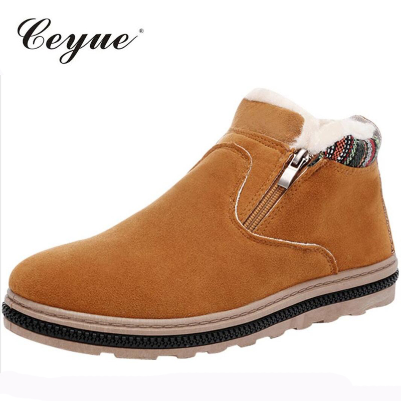 Ceyue 2017 Winter Men Snow font b Boots b font Casual Men Slip on Cow Suede
