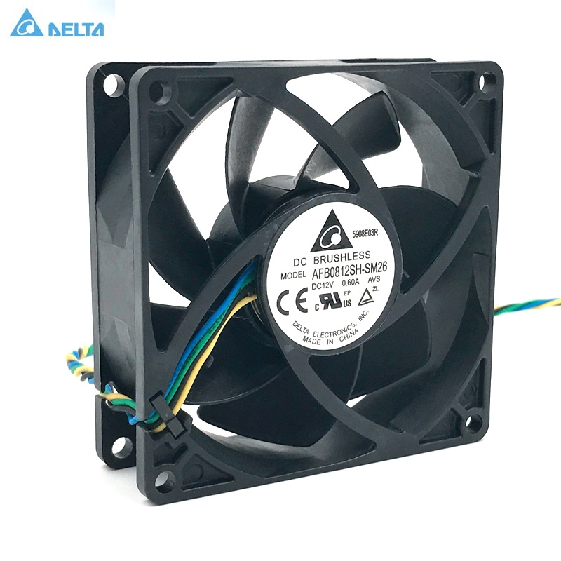 Delta AFB0812SH pwm cooling fan 80mm dc brushless 80*80*25mm DC12V 0.60A 4-pin 4500RPM 63CFM