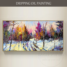 High Quality Hand-painted Winter Snow Landscape Oil Painting on Canvas Reproduction Hodyukov Bright Vivid