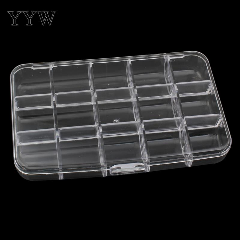 Clear 2-Pack Shipwreck Beads Plastic Bead Storage Box with 15 Compartments 4 by 7-Inch