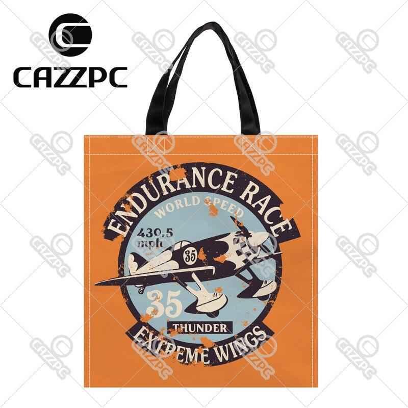 c093a3030915 Ретро Orange воздушные гонки знак шаблон печати пользовательские Оксфорд  нейлон Ткань Торговый хранения Бакалея сумка пакет 2