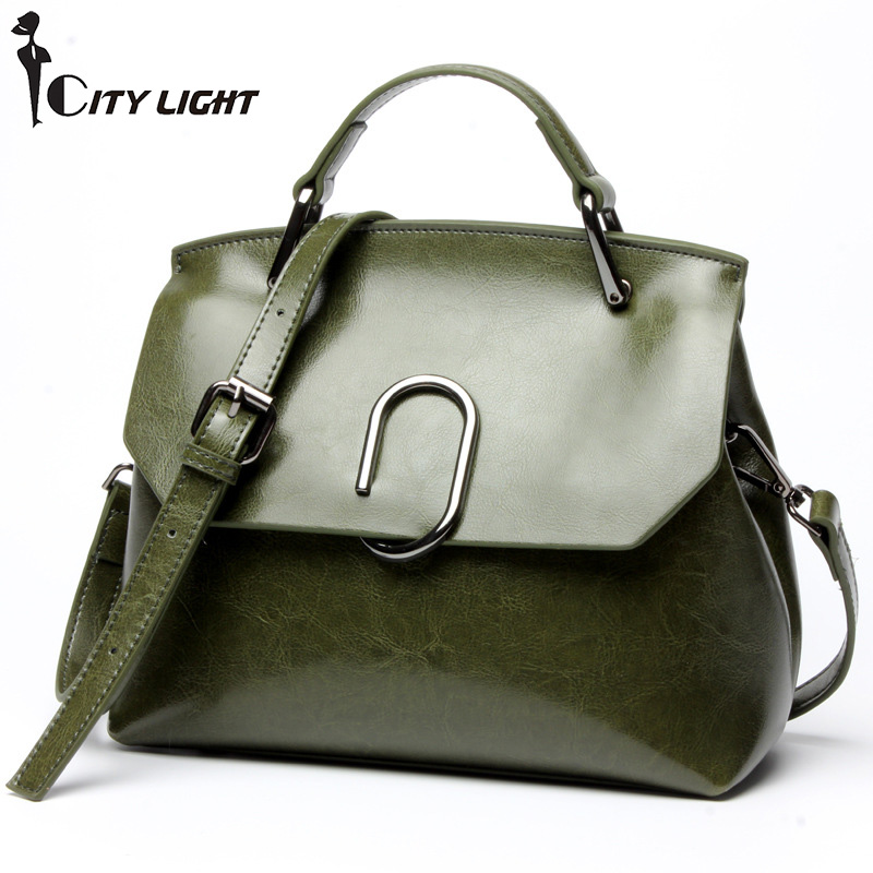 Women Cowhide Leather Bag Newest European and American oil wax leather bag Fashion shoulder Bags diagonal cross handbags qiaobao women general genuine leather handbags tide europe fashion first layer of cowhide women bag hand diagonal cross package