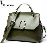 Women Cowhide Leather Bag Newest European and American oil wax leather bag Fashion shoulder Bags diagonal cross handbags