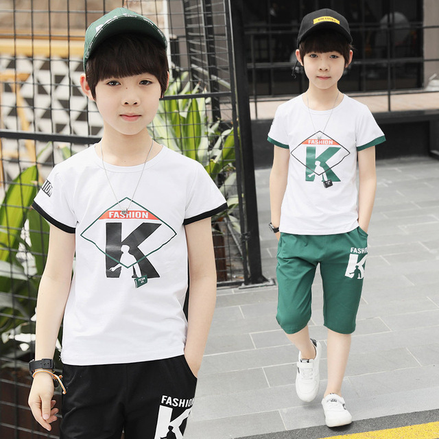 7ae6a9604b7c Boys Suit Children s Wear Sport Sets 2018 Summer New Trend Casual Letter  Printing Set Short Sleeve T Shirt +pant 4-12 Ages