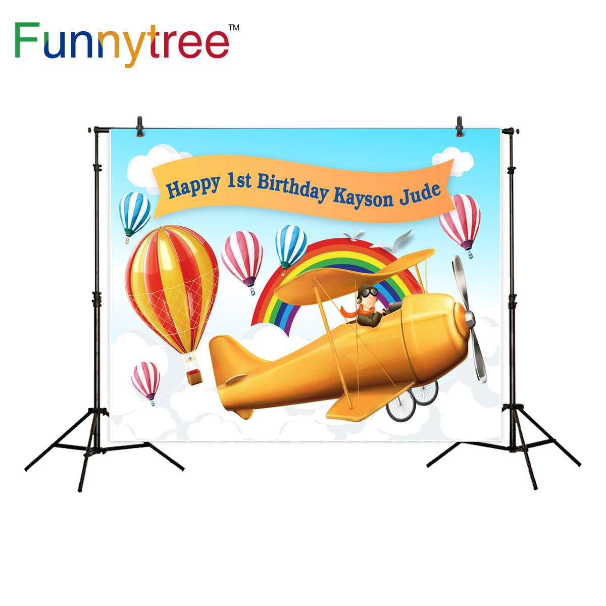 Funnytree photography backdrop travel hot air balloon airplane theme birthday party background photo studio photographic decor ao058m 2m hot selling inflatable advertising helium balloon ball pvc helium balioon inflatable sphere sky balloon for sale