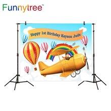 Funnytree contexto da fotografia avião viagem de balão de ar quente fundo da foto estúdio fotográfico tema da festa de aniversário decoração