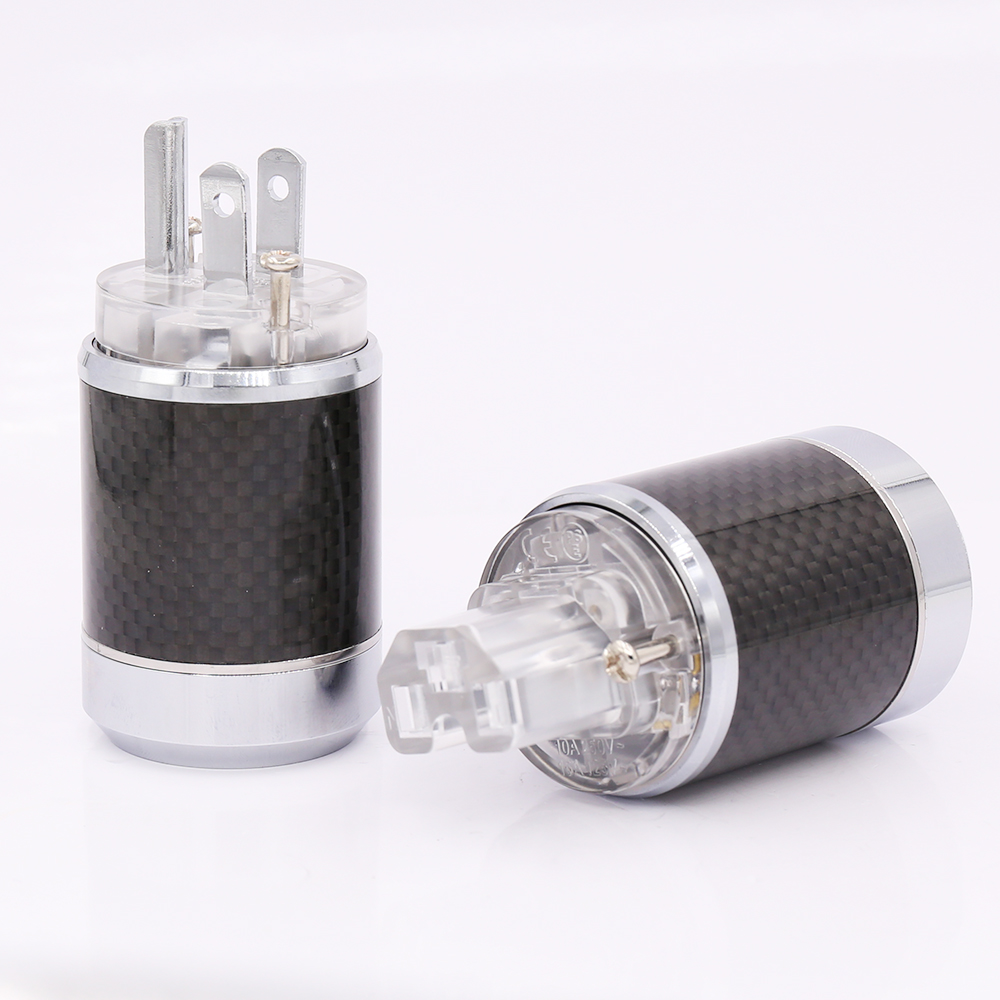 Pair Carbon fiber Rhodium Plated US AC Power Plug Connector IEC Plug free shipping one pair rhodium plated us mains power plug carbon fiber connector cable cord