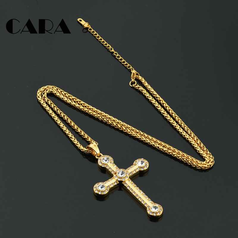 NEW arrival 316L stainless steel rhinestone cross necklace pendant Christian cross pendant snake chain hip hop necklace CAGF0326 in Pendant Necklaces from Jewelry Accessories