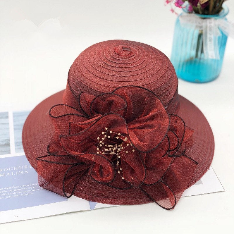 757ebe60d6d8f Kajeer Floral Wide Brim Summer Beach Hat Fedora Wheat Straw Women Sun hat  For Vacation Holiday
