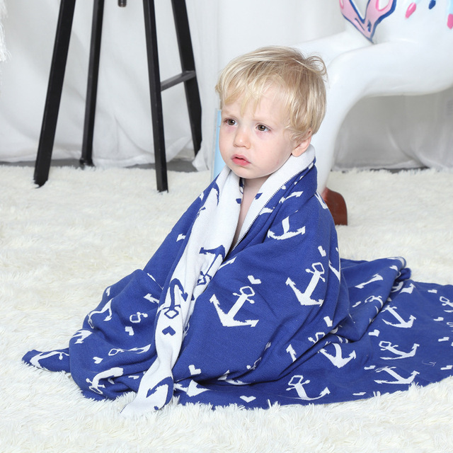 US $21 99 |Free shipping novelty gift Multi purposed anchors pattern  Reversible Knitted Baby Kids Throw Blanket wrap Photography Props-in Throw  from