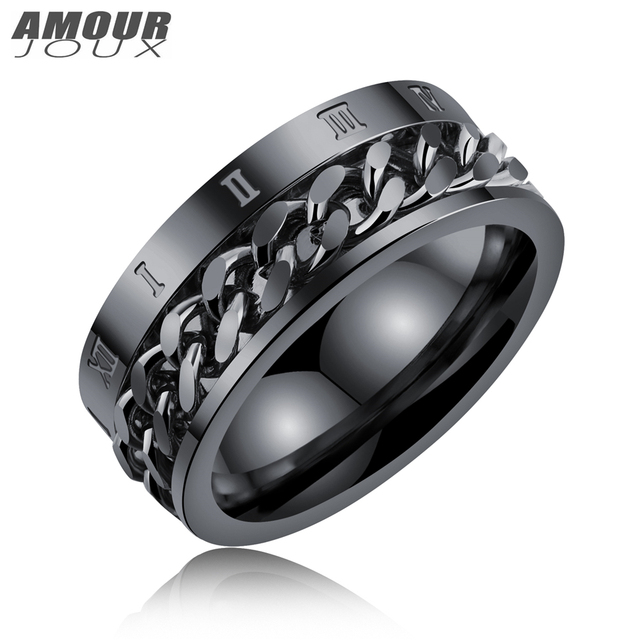 Amourjoux 8mm Black White Gold Rome Biker Chain Number 316l Stainless Steel Wedding Rings