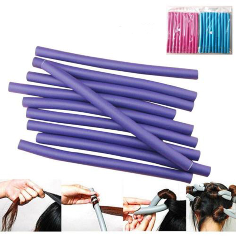 10Pcs Soft Foam Curler Makers Bendy Twist Curls Tool DIY Styling Hair Rollers For Women  Random Color