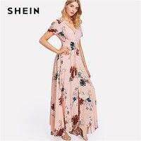 SHEIN Tassel Tied Button Up Front Floral Dress Women V Neck Short Sleeve Flower Print Dress