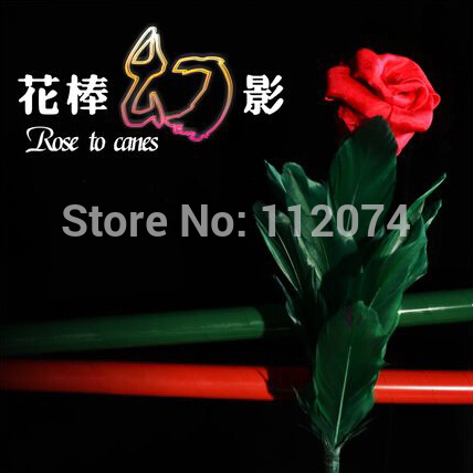 Rose to Canes Magic Tricks Magicians Flower To Scarve to Two Canes Magia Stage Illusions Gimmick