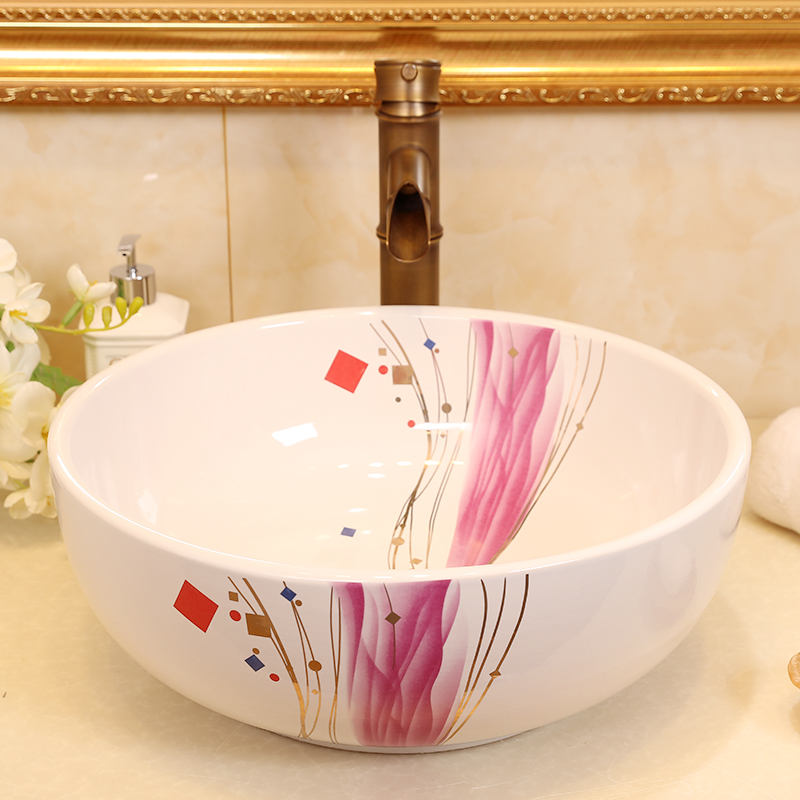 Hot selling hand painted jingdezhen ceramic countertop porcelain hand wash face bathroom basin sink