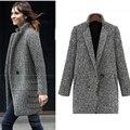 2016 otoño y el invierno ropa nueva Europeos y Americanos de gama alta de las mujeres abrigo de lana Delgada gruesa larga chaqueta de manga larga