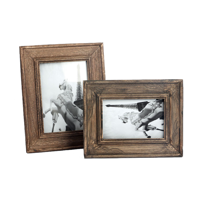 DIY Vintage Wood Picture Frame Retro Painting Display Photo Frame para Home Decoration Paperborad Fame marcos de fotos baby Gift