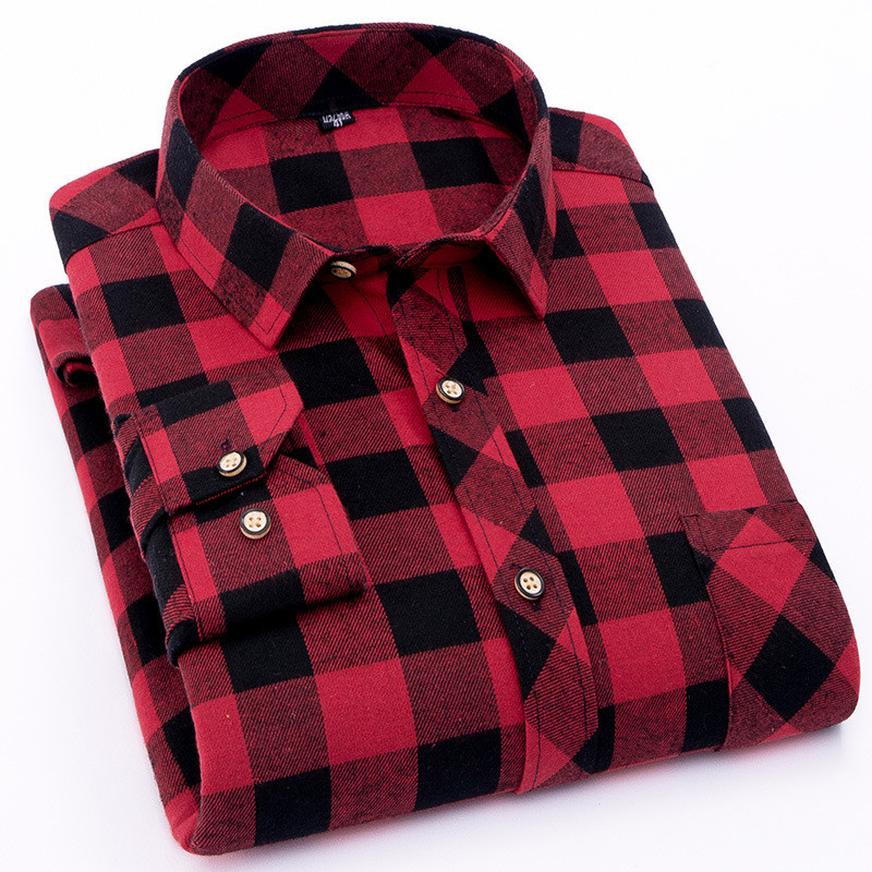Red Flannel Plaid Shirt Men 2019 Fashion Dress Men Shirt Casual Warm Soft Long Sleeve Shirts Camiseta Masculina Chemise Homme