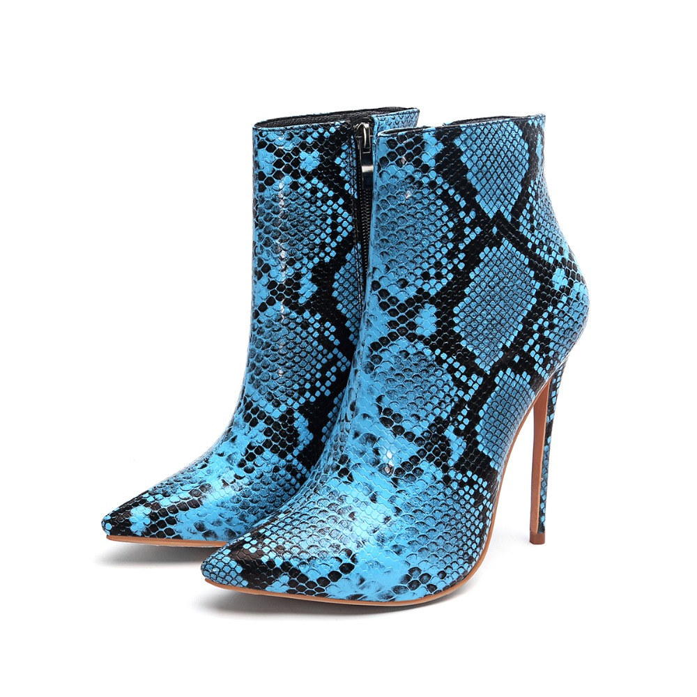 Sexy Snake Skin Ankle Boots for Women Shoes Pointed Toe High Heels Zip Toe Shoes Women