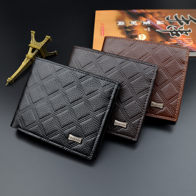 Men wallet fashion Male Money Bag Embossed lattice Hasp Leather Wallet Men Clutch Purse Slim Card Holder Wallets Coin Pocket 443