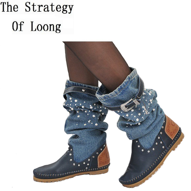 Women Spring Autumn Flats Denim Genuine Leather Buckle Pearl Knee High Boots Lady 2017 New Fashion Jean Long Boots