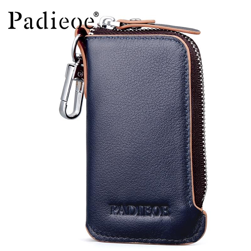Padieoe 2017 Genuine Leather Fasion Men Key Bag High Quality Key Chain Organizer Housekeeper Hot Coin Purse Men's Key Holder
