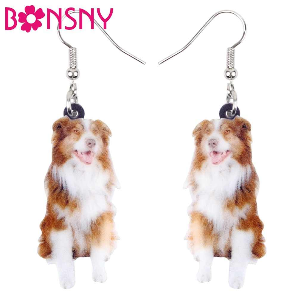 Bonsny Acrylic Happy Border Collie Dog Earrings Big Long Dangle Drop Fashion Cartoon Animal Jewelry For Women Girls Teens Charms