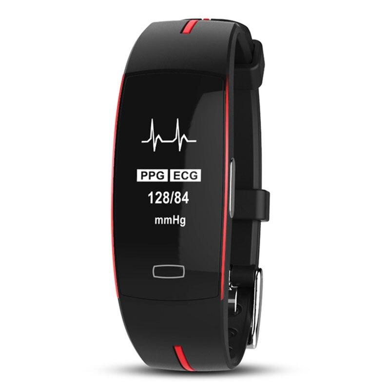 PPG + ECG inteligente pulseira rastreador de fitness de alta pressão arterial monitor de freqüência cardíaca banda smart watch inteligente GPS Trajetória TEZER
