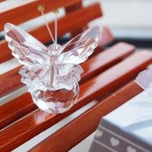 Presente de casamento bonito cristal borboleta ornamentos de vidro para festa de aniversário favor chá de fraldas suprimentos mesa casa decoração