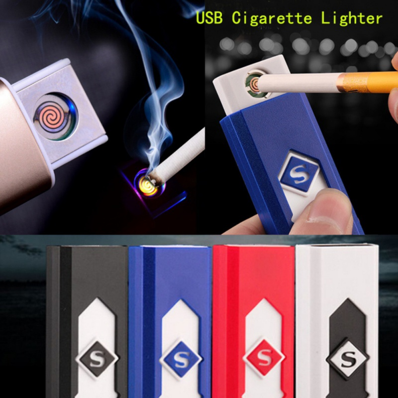 Windproof USB charging lighter Thin electronic cigarette lighters small rechargeable electric lighter windproof men gift