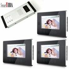 Smartyiba 3 единицы видеодомофон телефон двери квартиры Системы HD Камера 7 «дюймов монитор видео звонок Система контроля доступа