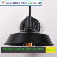 미국 산업 벽 램프 야외 조명 로프트 침실 펍 레스토랑 복고풍 벽 램프 연철 발코니 E27 AC110-240V