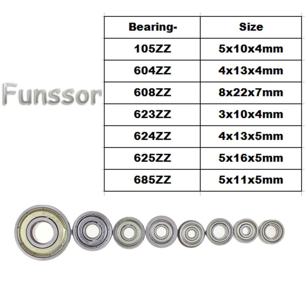 10pcs/lot Deep groove ball Bearing High-carbon Steel 105ZZ 604ZZ 608ZZ 623ZZ 624ZZ 625ZZ 685ZZ