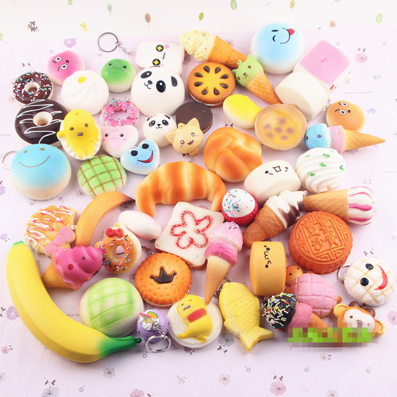 Rainbow 10pcs/lot Slow Rising Squishy Rainbow sweetmeats ice cream cake bread Strawberry Bread Charm <font><b>Phone</b></font> Straps Soft Fruit <font><b>Kid</b></font>