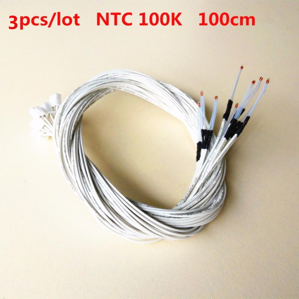 3pcs/lot 100k Glass Bead NTC Thermistor 3950 Resistance Temperature Sensor Lead Wire Bed Nozzle Hotend Sensor Wave Thermistor