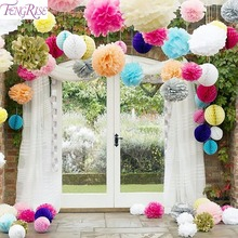 FENGRISE 5pc Tissue Paper Pompom Artificial Flowers Flores Wedding Pom Decoration Baby Shower Bridal Birthday Party Event Favors