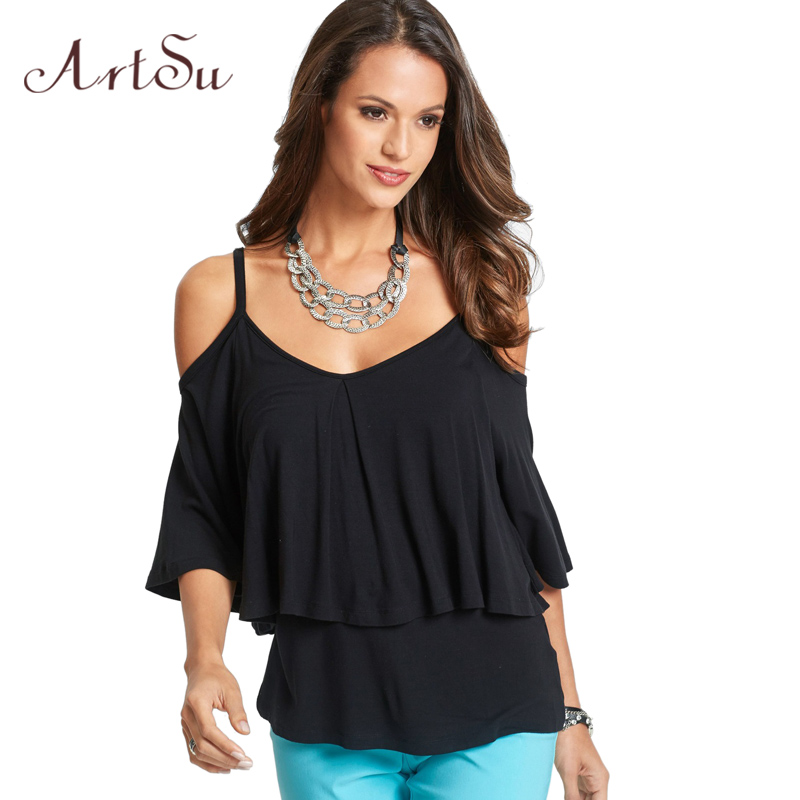 ArtSu Off the Shoulder Tops for Women Short Sleeve Casual Tee Shirt Femme Oversize T-shirt Camiseta Mujer Black 4XL5XL ASTS30007