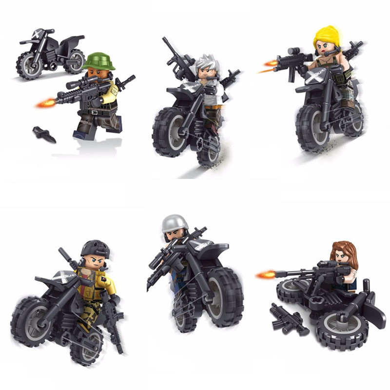 2018 NEW PUBG FPS Game MILITARY Winner Winner Chicken Dinner SWAT Soldier Army War Building Block Figure Educational Toy Boy Set protective outdoor war game military skull half face shield mask black