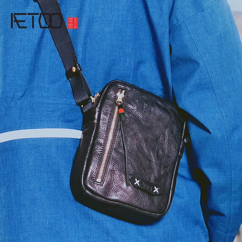 AETOO Retro vegetable tanned small shoulder bag male mini Messenger bag mobile phone bag men s