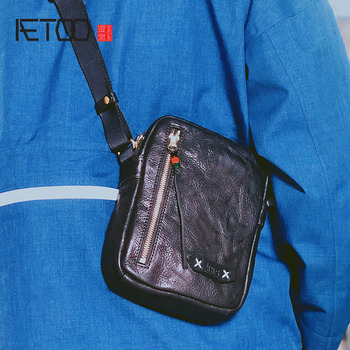 AETOO Retro vegetable tanned small shoulder bag male mini Messenger bag mobile phone bag men's casual leather bag aetoo leather art sen retro shoulder shoulder bag handbags women s vegetable tanned leather saddle bags multi color