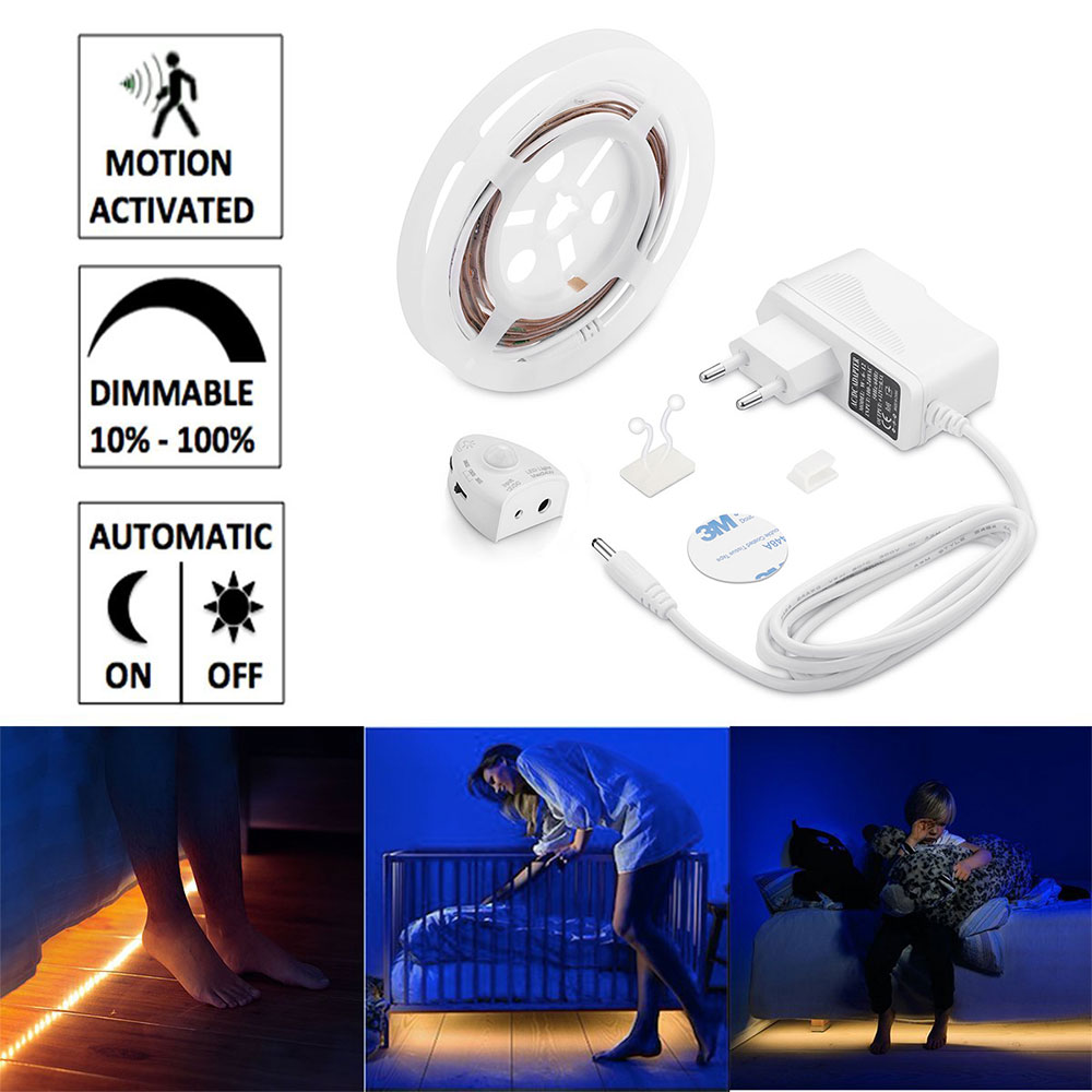 Motion Activated Bed Light Dimmable Flexible Strip Motion Sensor Night Light Dimmable Illumination with Automatic Shut Off Timer usb rechargeable motion activated bed light flexible strip sensor night light automatic shut off timer for kitchen stair cabinet