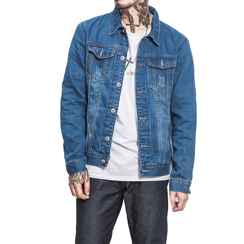 2018 High Quality Ripped Denim Jacket Mens Vinage Distressed Destroyed Jeans Coat Hip Hop Casual Hole Jackets Coats Blue