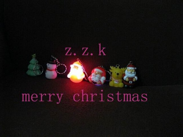 Free Shipping(100pcs) HOT LED gifts Santa Claus keychain,wholesale flashing christmas keychain,christmas products for Promotion